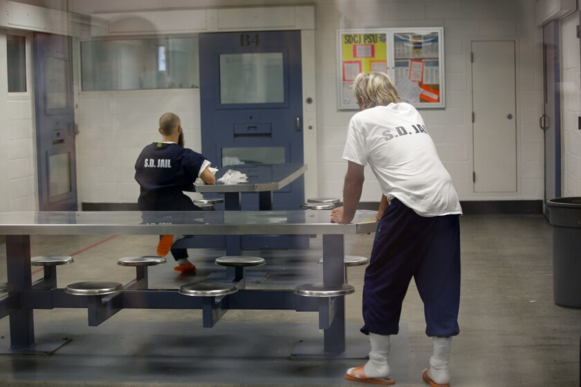 This is a file photo of inmates at the San Diego Central Jail. A new study commissioned by county Supervisors Dianne Jacob and Nathan Fletcher will examine jail operations in San Diego and elsewhere to try and reduce the number of inmates who die in custody.