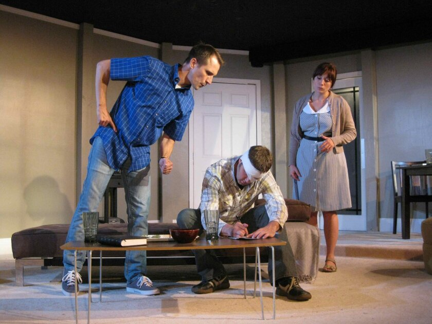 """Francis Gercke, Nick Kennedy and Rhianna Basore in """"Grace"""" at Ion Theatre."""