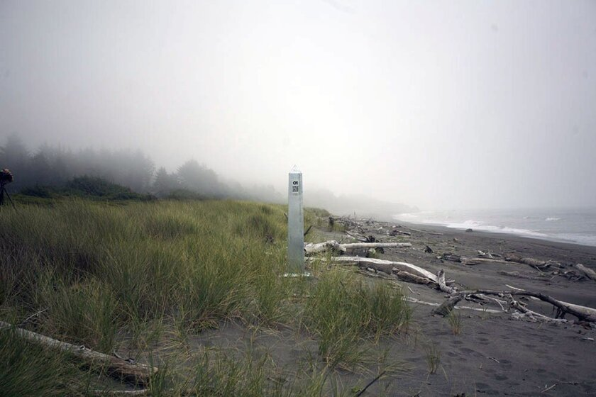 This silver obelisk installed south of Brookings, Oregon is the first of 47 such sculptures that retrace the border between Mexico and the U.S. as it was in 1921, when Mexico gained its independence from Spain. The 2014 'Delimitations' installations, by artists ERRE and David Taylor, attempt to sho