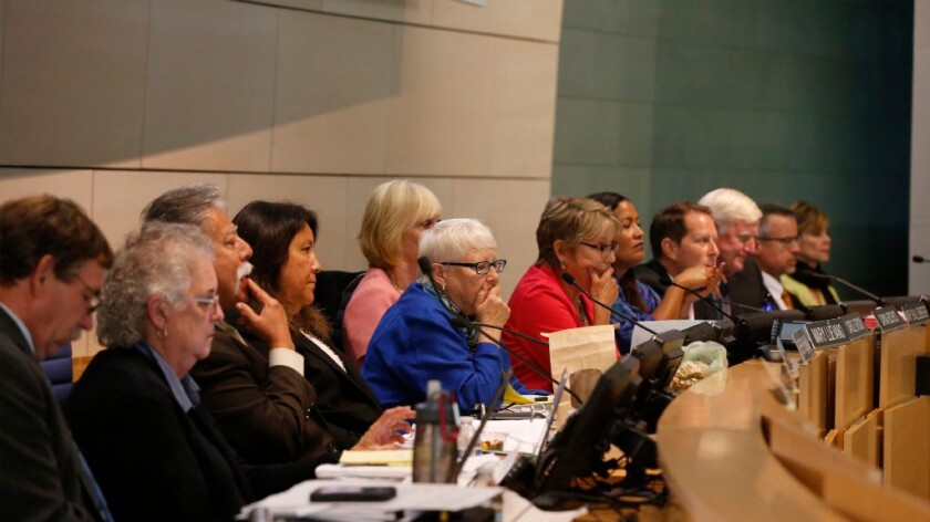 The California Coastal Commission listens to comments during a hearing to decide on the Newport Banning Ranch development at Newport City Hall in Newport Beach, CA, on Sept. 7, 2016.
