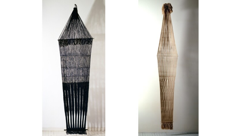 """Lenore Tawney's woven works """"Spirit River,"""" 1966 and """"Orinoco,"""" 1967, part of a group show at the Landing."""