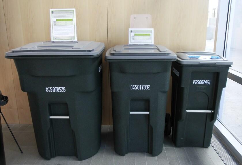 Trash bin display is meant to educate