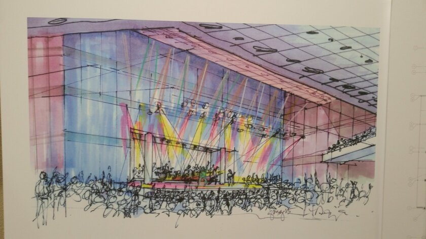 Artist rendering of the proposed indoor concert venue at fairgrounds.