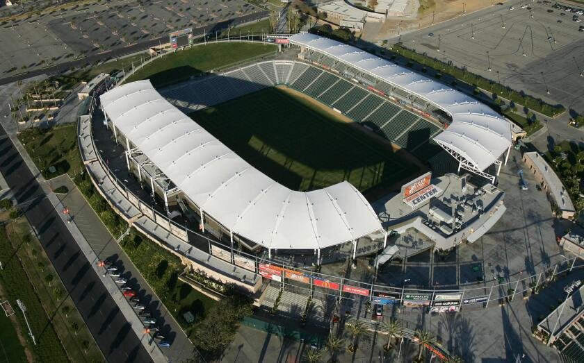 Carson, UNITED STATES: An aerial view of the Home Depot Center in Carson, California, 16 January 2007. The Home Depot Center is the home pitch of the MLS soccerteam the Los Angeles Galaxy, for whom British soccer star David Beckham will begin playing this summer. AFP PHOTO / ROBYN BECK (Photo credit should read ROBYN BECK/AFP/Getty Images) ** OUTS - ELSENT, FPG, CM - OUTS * NM, PH, VA if sourced by CT, LA or MoD **