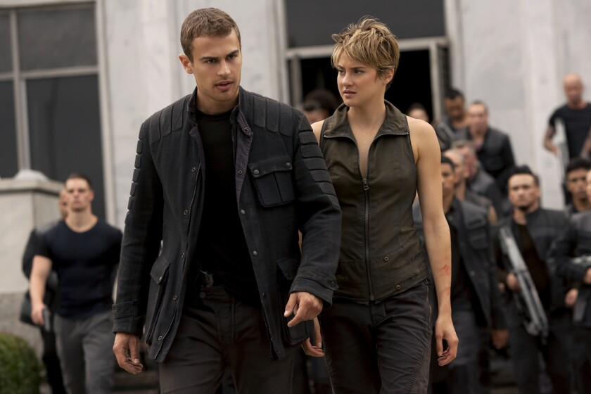 """Four (Theo James) and Tris (Shailene Woodley) in a scene from """"Insurgent."""""""