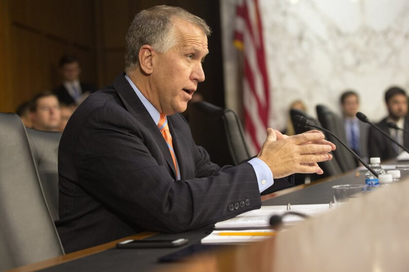 Sen. Thom Tillis (R-N.C.) is seen asking questions of attorney general nominee Loretta Lynch on Capitol Hill in Washington.