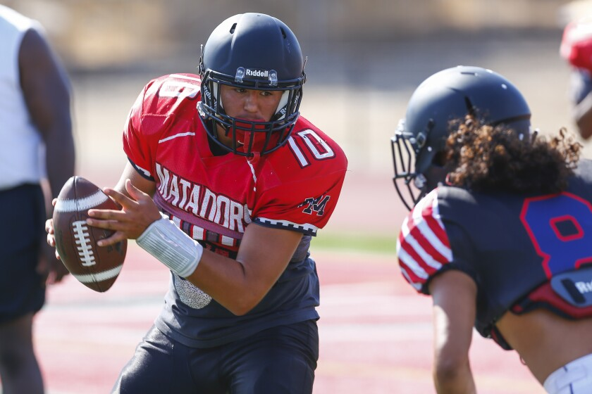 Matadors QB Jacob Laverdiere (shown in earlier competition) was 17-of-28 passing for 313 yards and four touchdowns.
