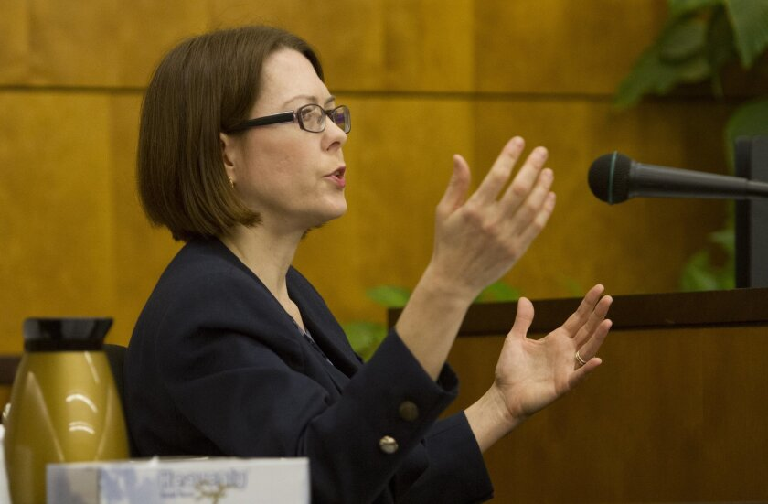 Candy Brown, an expert witness for plaintiffs seeking to end a yoga program in the Encinitas Union School District, testified Monday. / photo by Bill Wechter * U-T San Diego