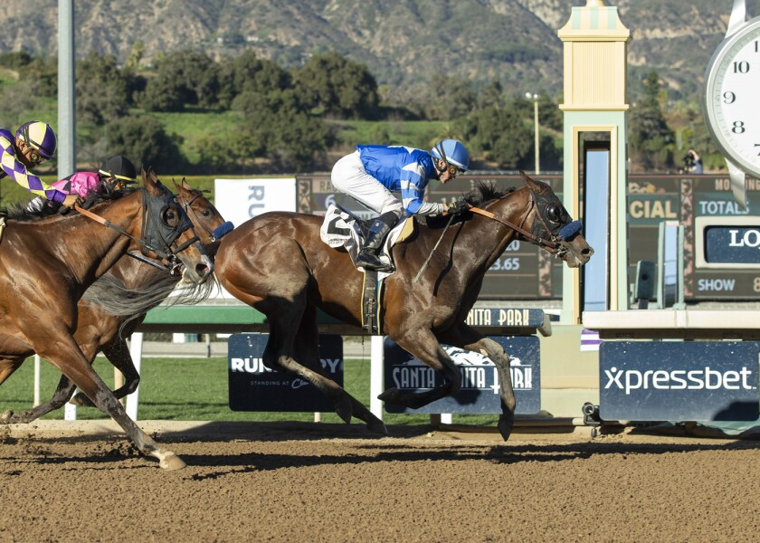 Thousand Words and jockey Flavien Prat win the Robert B. Lewis Stakes on Feb. 1, 2020, at Santa Anita for Bob Baffert's 3,000th career victory.