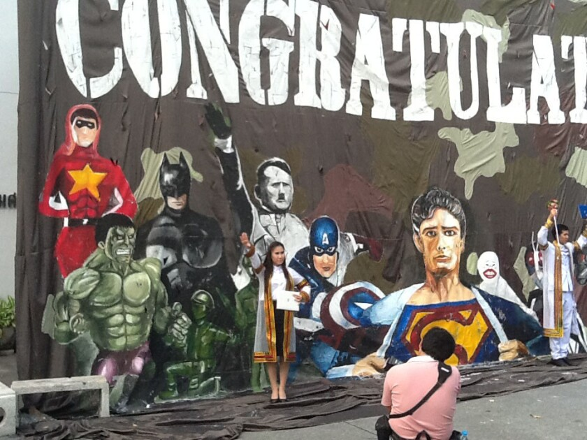 A mural depicting Adolf Hitler along with a group of superheroes was displayed by Chulalongkorn University, a leading university in Thailand.