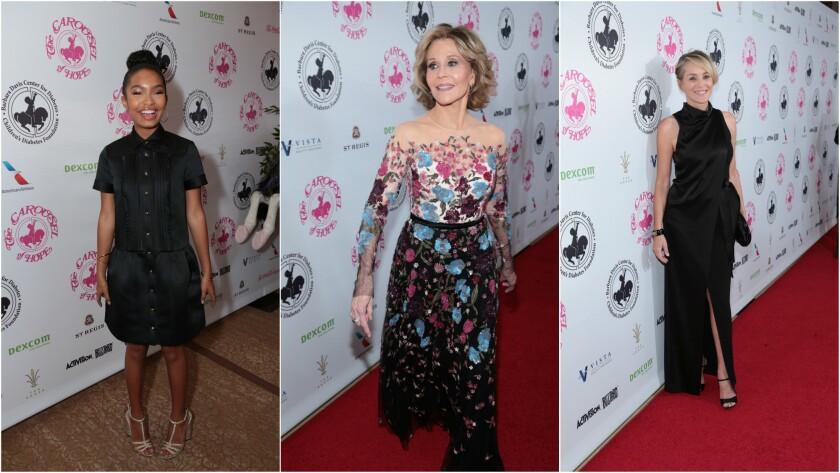 Yara Shahidi, left, gala honoree Jane Fonda and Sharon Stone at the Carousel of Hope Ball.