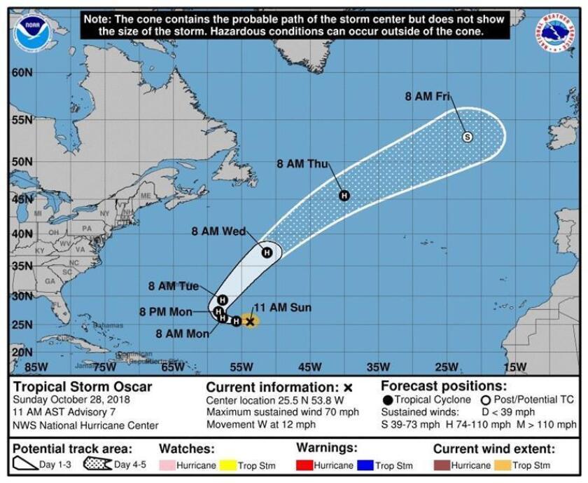 Gráfico cedido hoy, domingo 28 de octubre de 2018, por el Centro Nacional de Huracanes (NHC), donde se muestra la trayectoria de la tormenta tropical Óscar, que avanza por el Océano Atlántico hacia el oeste, pero se anticipa un giro hacia el noroeste a última hora de la noche o primera hora del lunes. EFE/CNH-NOAA/SOLO USO EDITORIAL/NO VENTAS