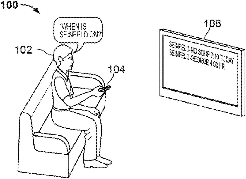 "A drawing submitted with a Google TV patent filing illustrates how voice control can be used to find programs on television sets running the Google-built software. Google described the drawing as showing ""an example by which data may be submitted at a first computer and reviewed and handled at a second computer."""