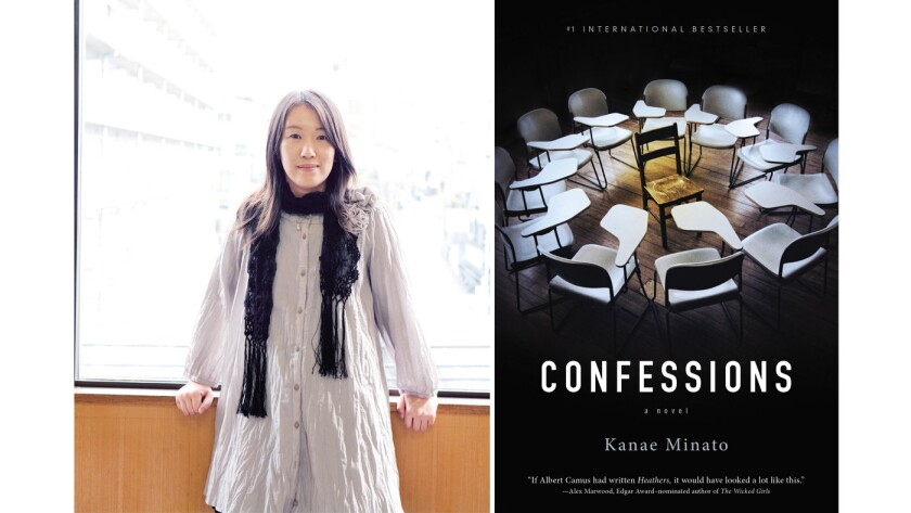 """Author Kanae Minato and the cover of the book, """"Confessions."""""""