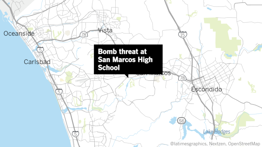 Map of where there was a report of a bomb threat.