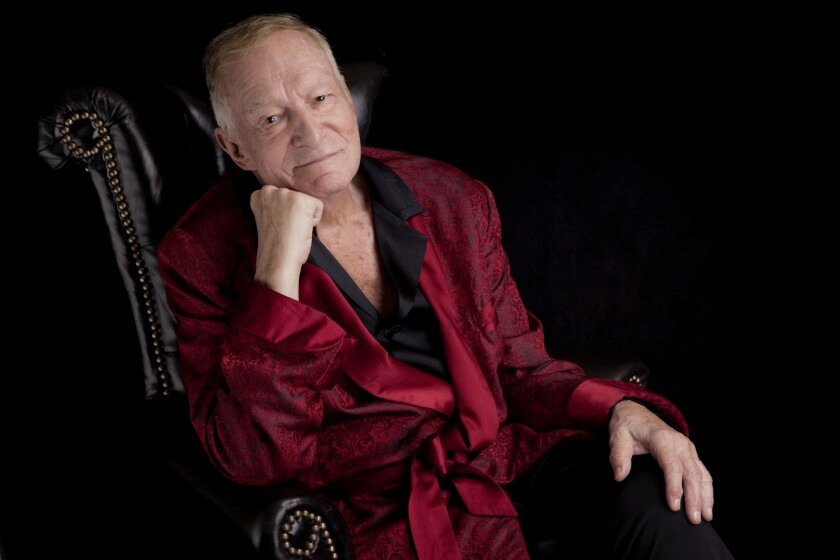 Hefner sits for a portrait in Los Angeles in August 2013.