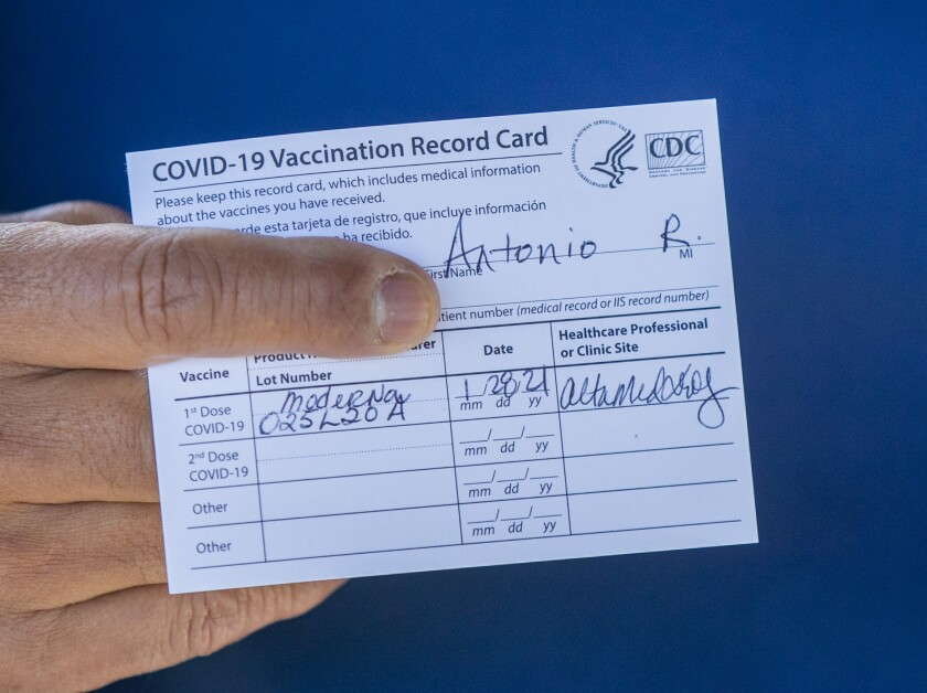 A COVID vaccination card, such as this one, is now required at a number of indoor businesses in Los Angeles County.