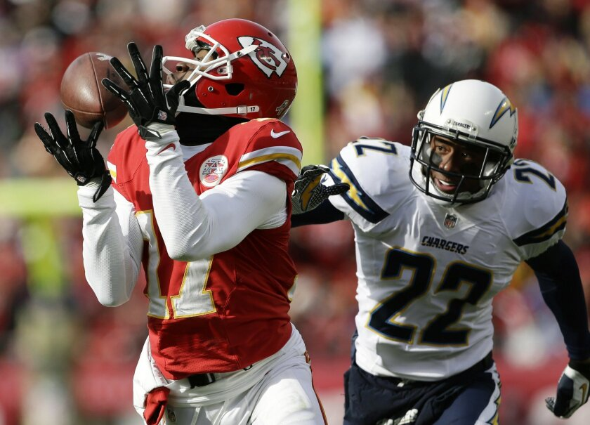Kansas City Chiefs wide receiver Donnie Avery (17) catches a pass while covered by San Diego Chargers cornerback Derek Cox (22) during the first half of an NFL football game at Arrowhead Stadium in Kansas City, Mo., Sunday, Nov. 24, 2013. (AP Photo/Charlie Riedel)