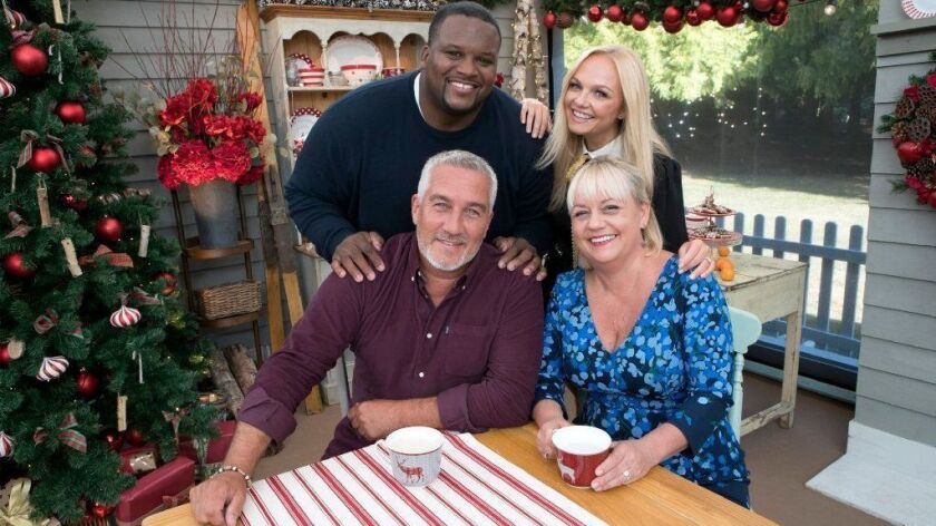 "Clockwise from front left, Paul Hollywood, Anthony ""Spice"" Adams, Emma Bunton and Sherry Yard in ""The Great American Baking Show: Holiday Edition"" on ABC."