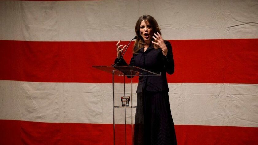 Author Marianne Williamson speaks during the announcement of her presidential campaign in Beverly Hills on Jan. 28.