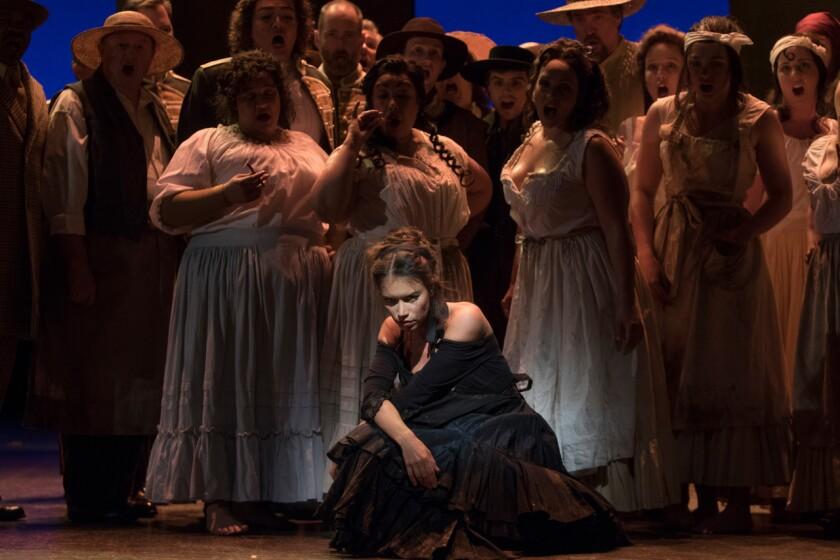 """Mezzo-soprano Ginger Costa-Jackson, center, stars in the title role of San Diego Opera's """"Carmen."""""""