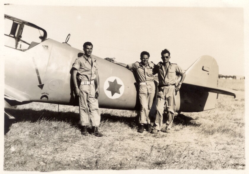 """Pilots Lou Lenart, Gideon Lichtman and Modi Alon in a still from the movie """"Above and Beyond."""""""