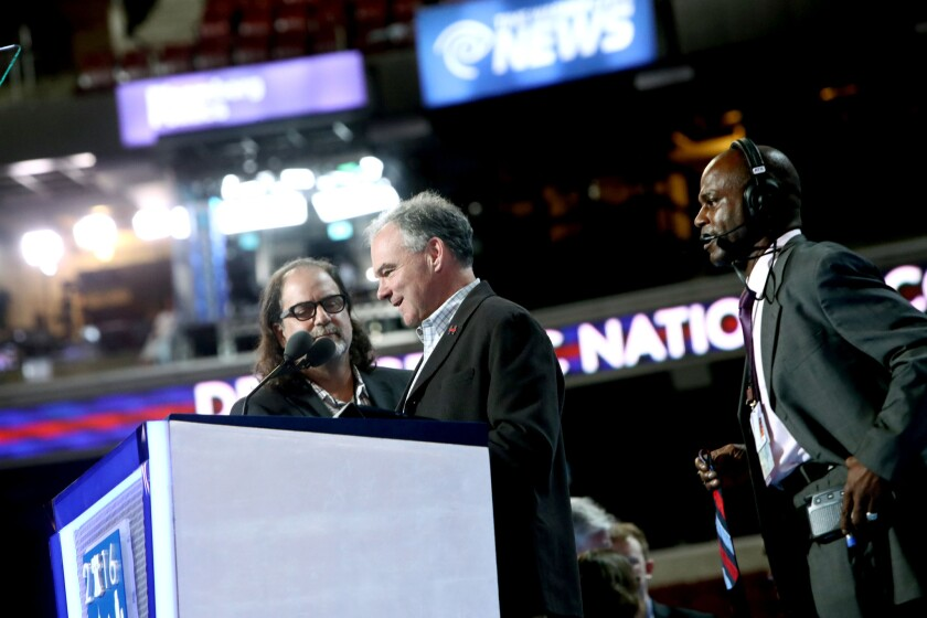 Democratic Vice Presidential nominee Tim Kaine does a walkthrough on the Democratic National Convention stage ahead of his prime-time speech later in the evening.