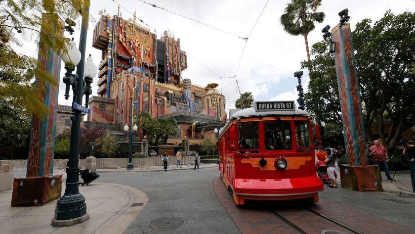Exterior view of the Guardians of the Galaxy Mission Breakout ride in Anaheim.