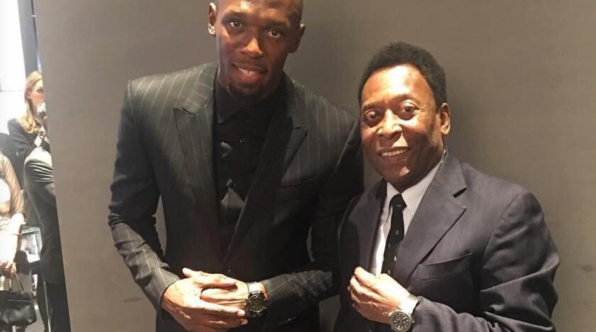 Usain Bolt y Pelé, leyendas vivientes del deporte...