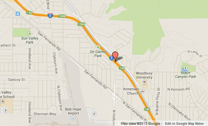 Approximate location, shown in red, where a man died after being ejected from a car that crashed on the 5 Freeway in Sun Valley.