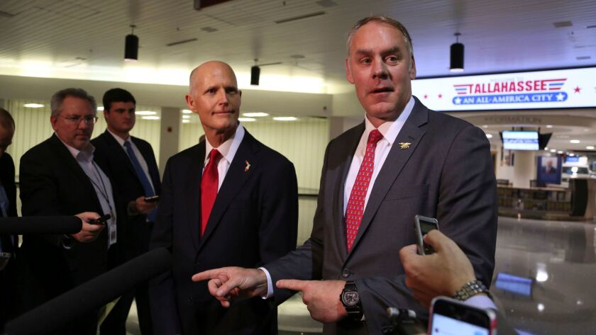 Florida Governor Rick Scott and U.S. Department of the Interior Secretary Ryan Zinke, announce there