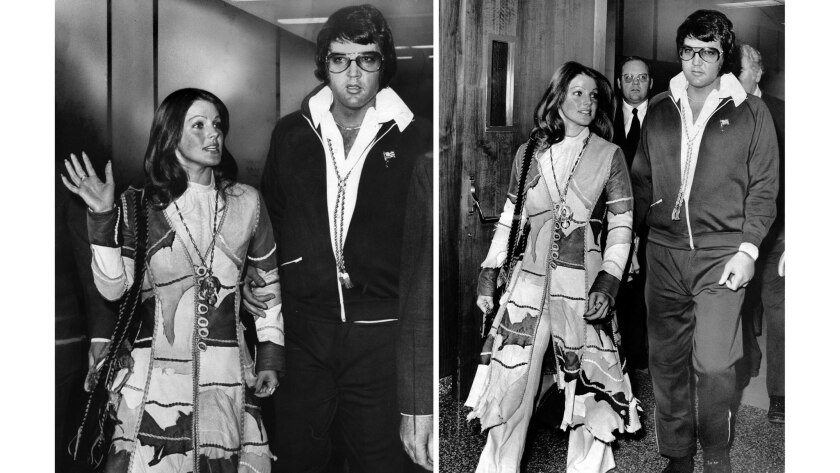 Oct. 9, 1973: Two additional images of Elvis and Priscilla Presley as they leave Santa Monica, Calif., Superior Court following their divorce.
