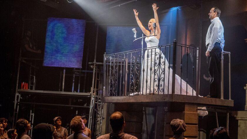 "Marisa Matthews as Eva Perón in San Diego Rep's ""Evita."""