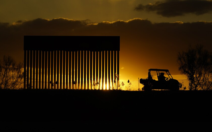 Border wall construction site in Mission, Texas.