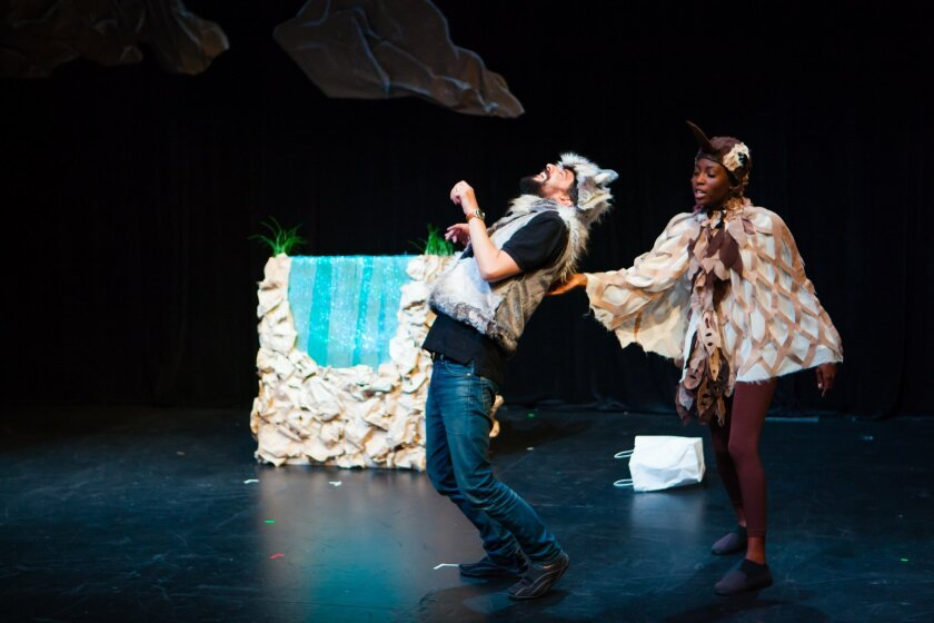"""Justin Tuazon-Martin as Coyote and Alexandra Slade as Wren in the eco-play """"Wrenegades,"""" produced by Circle Circle Dot Dot theater at the Shank Theatre in La Jolla."""