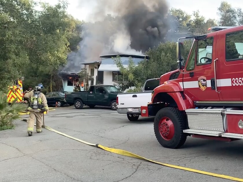 One mobile home was destroyed and a second was damaged in a mobile-home park fire in Jamul early Sunday.