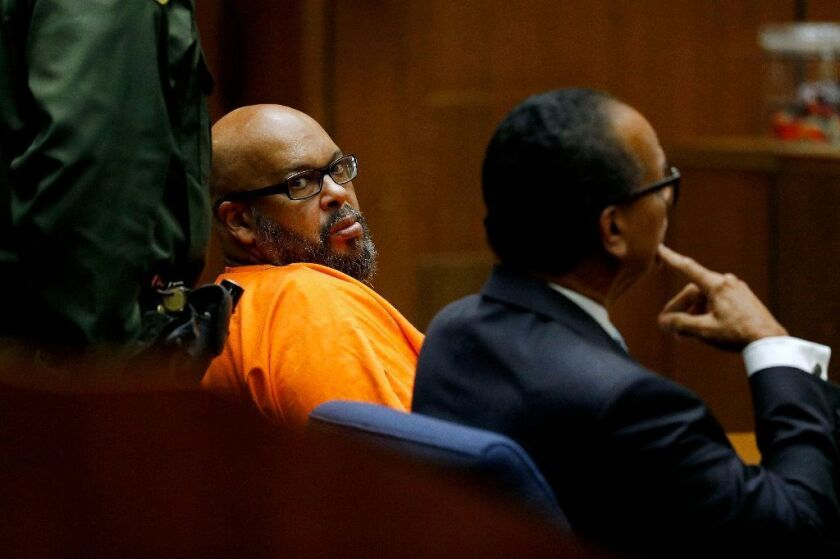 "Marion ""Suge"" Knight, left, shown with his attorney Albert DeBlanc, appears in court Sept. 20, 2018, to plead no contest to voluntary manslaughter in front of Judge Ronald S. Coen in Los Angeles County Superior Court."