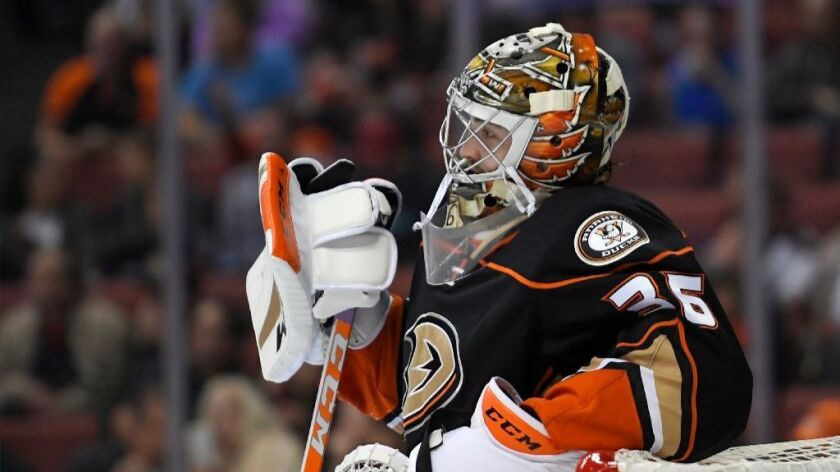 The Ducks' goaltender coach has never played in the NHL, but he's been tasked with making sure John Gibson, pictured, and Jonathan Bernier are successful at the highest level of hockey.