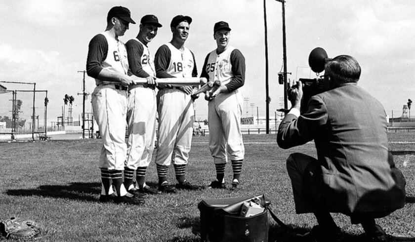 A photographer gets a spring training shot of four of the the Redlegs All-Stars from 1957 included (from left) Ed Bailey, Wally Post, Ted Kluszewski and Gus Bell.