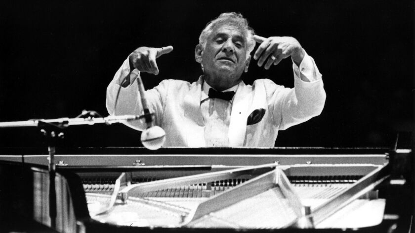 "Leonard Bernstein conducts and plays Gershwin's ""Rhapsody in Blue"" with the Los Angeles Philharmonic at the Hollywood Bowl in 1982."