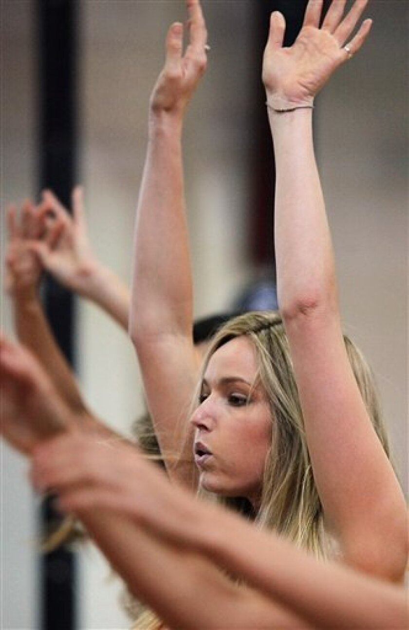 This photo taken Nov. 11, 2009 shows Jamie Lee Darley from Carmel, CA, going through a routine with finalists in the Angel Boot Camp, a model search for Victoria's Secret, New York.  (AP Photo/Bebeto Matthews)