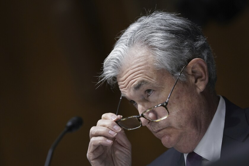 Federal Reserve Board Chairman Jerome Powell testifies during a Senate Banking Committee hearing, Thursday Sept. 24, 2020 on Capitol Hill in Washington about the CARES Act and the economic effects of the coronavirus pandemic. (Drew Angerer/Pool via AP)