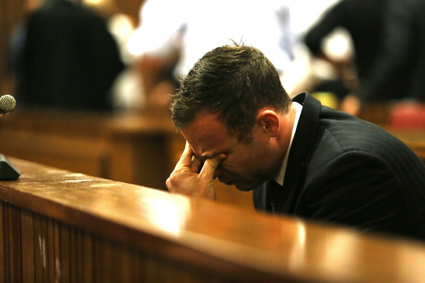 Olympic athlete Oscar Pistorius during his trial at the Pretoria High Court in September 2014.