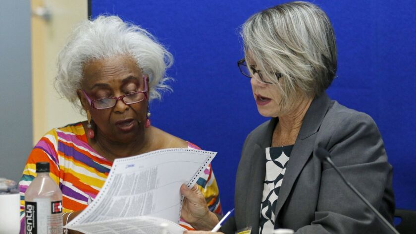 Dr. Brenda Snipes, left, Broward County Supervisor of Elections, looks at a ballot with Betsy Benson