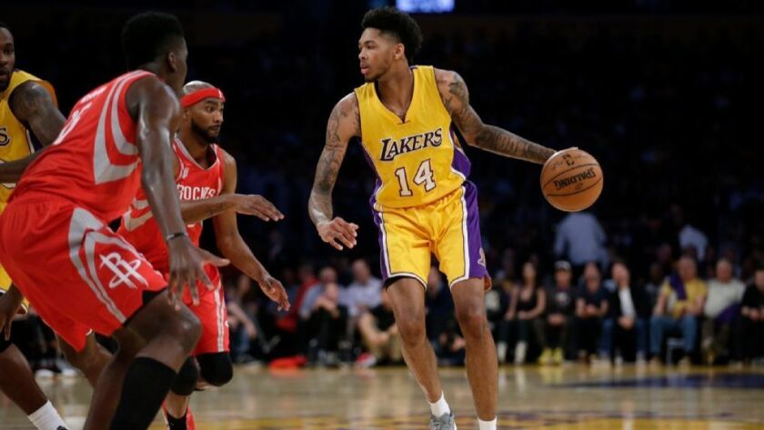 Lakers forward Brandon Ingram, shown handling the ball against the Houston Rockets on Oct. 26, says he has was just being cautious when he left a game against the Utah Jazz.