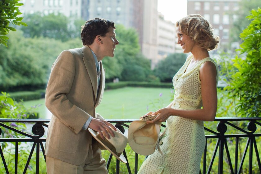 "Jesse Eisenberg, left, and Blake Lively in a scene of ""Cafe Society."""