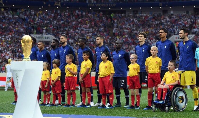 La selección francesa en la final de la Copa del Mundo Rusia 2018, donde se coronó tras vencer a Croacia.