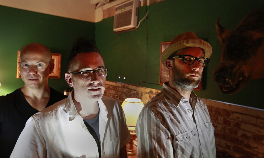 """Producer Gordon Bijelonic, director Darren Bousman and production designer Derrick Hinmanhave sit in the Comfort Room inside their massive house of horror. """"The Tension Experience: Ascension"""" takes up an entire city block in Boyle Heights."""