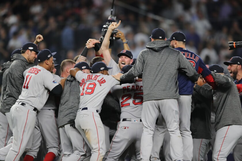 Craig Kimbrel #46 and the Boston Red Sox celebrates after beating the New York Yankees to win Game Four American League Division Series at Yankee Stadium on October 09, 2018 in the Bronx borough of New York City.