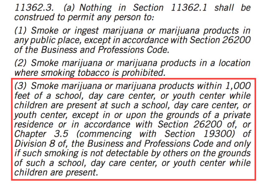 Under Proposition 64, adults 21 and older will not be permitted to smoke marijuana within 1,000 feet of a school, day care or youth center when children are present — unless they do so in a private residence.